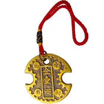 Amuleta cu moneda lacat pentru bani si noroc, lacatul banilor cu mantre pentru prosperitate, dimensiune mare 175 mm