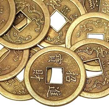 Monede chinezesti feng shui cu ideograme norocoase pentru bani, 2.8 cm