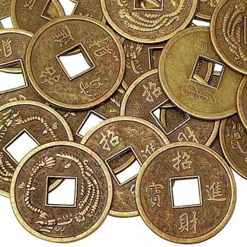 Monede chinezesti, amulete feng shui pentru bogatie, metal auriu bronz, 24 mm