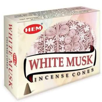 Conuri parfumate Mosc Alb, HEM Precious, vigilenta si afrodisiac, suport metalic inclus, 10 conuri (25g) aromaterapie