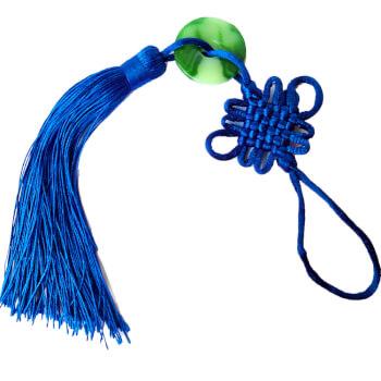 Nod mistic albastru cu moneda jad, amuleta Feng Shui de bani si noi inceputuri, textil