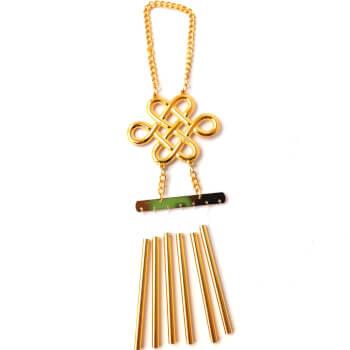 Clopotei de vant cu 6 tije si nod mistic, amuleta de protectie, decoratiune casa si gradina, bronz, auriu