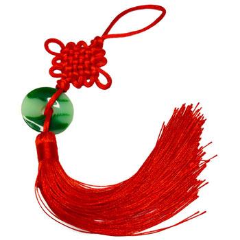 Nod mistic cu moneda din jad, amuleta Feng Shui impotriva ghinioanelor si relelor, pentru protectie si noroc, rosu