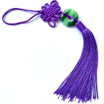 Nod mistic mov cu moneda din jad verde, amuleta feng shui pentru energie pozitiva si reusite profesionale