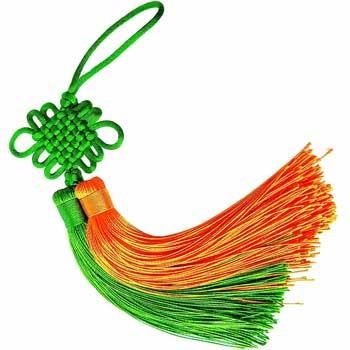 Nod mistic cu ciucuri verde orange, amuleta feng shui pentru cresterea si controlul banilor, textil, multicolor