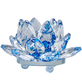 Lotus albastru decoratiune din cristal de sticla tip nufar, amuleta feng shui pentru purificare si armonie, 8 cm