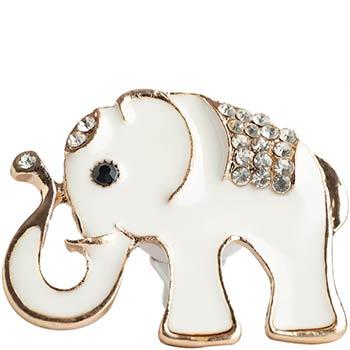 Elefant metal alb cu strasuri sticla, set bijuterie tip odorizant auto cu clips si 2 discuri parfumate