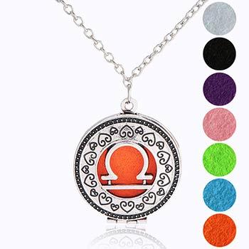 Balanta, bijuterie parfumata cu set colier argintiu si pandantiv aromaterapie cu 4 discuri diverse culori