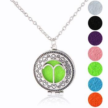 Berbec, bijuterie zodiac parfumata cu set colier argintiu si pandantiv aromaterapie cu 4 discuri diverse culori