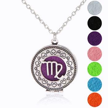 Fecioara, bijuterie parfumata cu set colier argintiu si pandantiv aromaterapie cu 4 discuri diverse culori