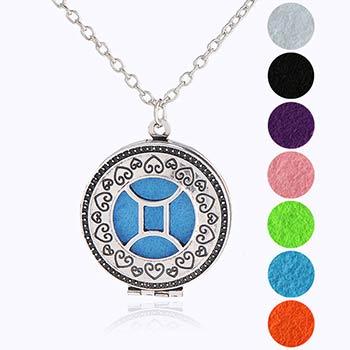 Gemeni, bijuterie parfumata cu set colier argintiu si pandantiv aromaterapie cu 4 discuri diverse culori