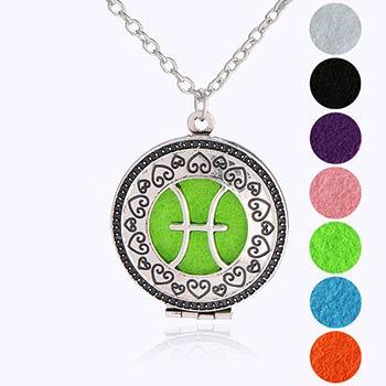 Pesti, bijuterie parfumata cu set colier argintiu si pandantiv aromaterapie cu 4 discuri diverse culori