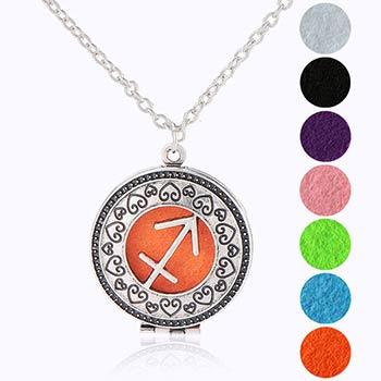 Sagetator, bijuterie parfumata cu set colier argintiu si pandantiv aromaterapie cu 4 discuri diverse culori