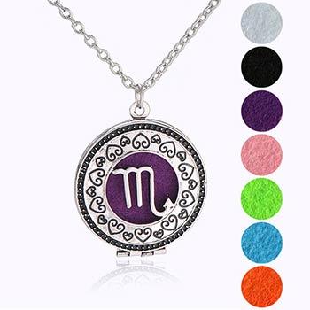 Scorpion, bijuterie parfumata cu set colier argintiu si pandantiv aromaterapie cu 4 discuri diverse culori