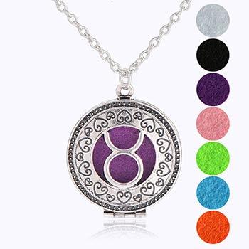 Taur, bijuterie parfumata cu set colier argintiu si pandantiv aromaterapie cu 4 discuri diverse culori