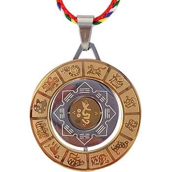 Colier 8 simboluri tibetane si mantre, amuleta de protectie, cu snur in culorile celor 5 elemente, auriu