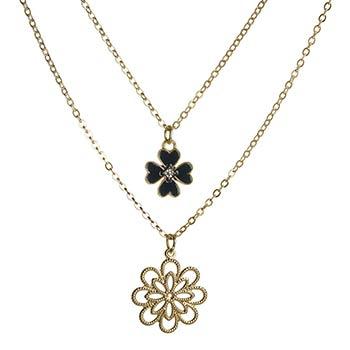 Colier choker dublu, auriu, talisman trifoi norocos cu patru foi si pandantiv floare cu opt petale