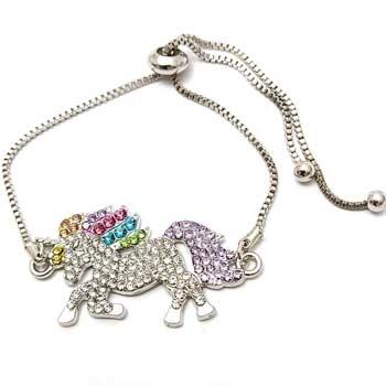 Bratara unicorn, bijuterie cristale curcubeu, impotriva ghinioanelor si timiditatii, pentru incredere in sine