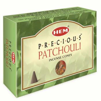 Conuri parfumate Patchouli, HEM Precious, relaxant cu actiune antioxidanta, 10 conuri (25g) aromaterapie, suport metalic inclus