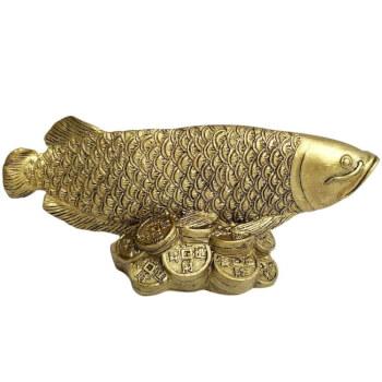 Peste Arowana, obiect feng shui pentru abundenta si bogatie, decoratiune aurie, pe monede