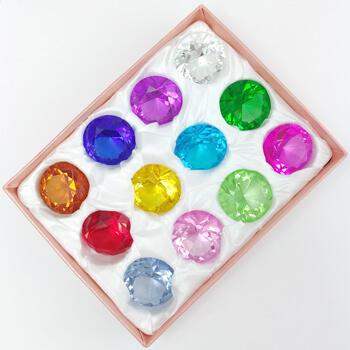 Set 12 piatra dorintei Feng Shui, cristale folosite pentru prosperitate, progres in cariera si dragoste, forma diamant 45 mm, multicolor