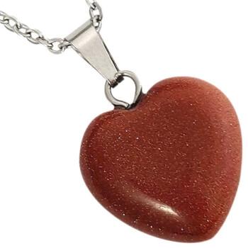 Colier piatra soarelui in forma de inima, set cu lantisor argintiu, talisman de dragoste si protectie, maro