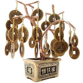 Pomul abundentei cu monede chinezesti, copac norocos Feng Shui pentru bunastare si bani, metal calitate, 15 cm