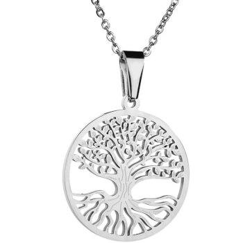 Copacul Vietii, colier argintiu cu pandantiv amuleta pentru evolutie in viata, 30 mm