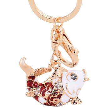 Breloc crap norocos rosu, amuleta pentru protectie si bogatie, accesoriu geanta si chei, metal