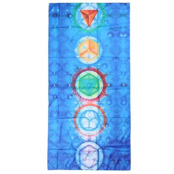 Prosop plaja albastru cu simbolul chakrelor, atingere delicata din microfibra, 150 cm