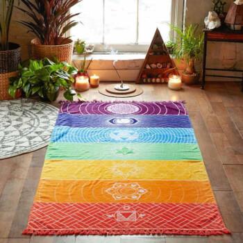 Prosop 7 Chakra cu ciucuri, pentru yoga, paturica sau covoras 150 cm