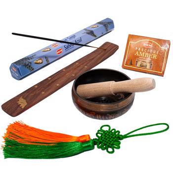 Set purificare casa 5 amulete de energizare si alungare energii negative, bol cantatator cu nod mistic verde-orange, betisoare salvie albastra cu suport ardere lemn si conuri amber