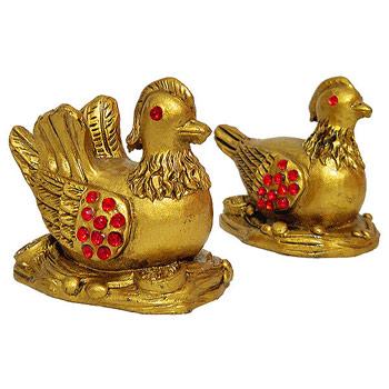 Ratuste mandarin, obiecte feng shui pentru dragoste si casatorie, set 2 bucati rate aurii si ghid zodiacool