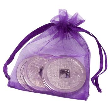 Sac de bani cu 6 monede chinezesti argintii, set amulete pentru bunastare
