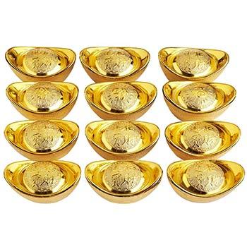 Pepite aurii set 12 bucati in suport rosu, simbol Feng Shui al bogatiei si sporului in casa