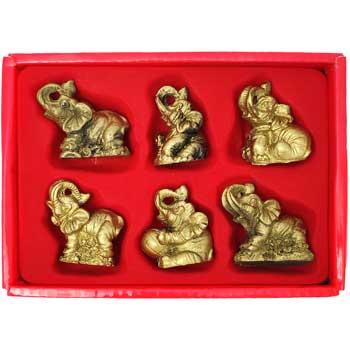 Set 6 elefanti norocosi, decoratiuni feng shui casa pentru dragoste si noroc, auriu, set cu ghid zodiacool