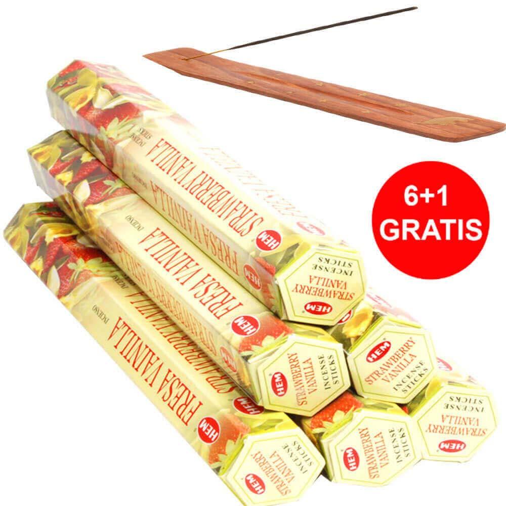Set 6 cutii Betisoare parfumate Vanilie si Capsuni HEM, suport pentru aromaterapie din lemn cu elefant
