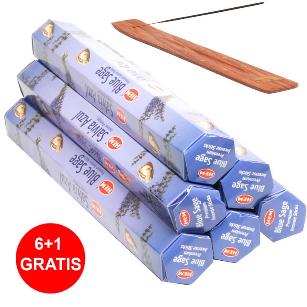Set 6 cutii Betisoare parfumate Salvie Albastra HEM profesional si suport din lemn pentru ardere elefant cu trompa in sus