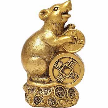 Sobolan auriu Feng Shui, cu moneda norocoasa si pepite pentru bani, prosperitate