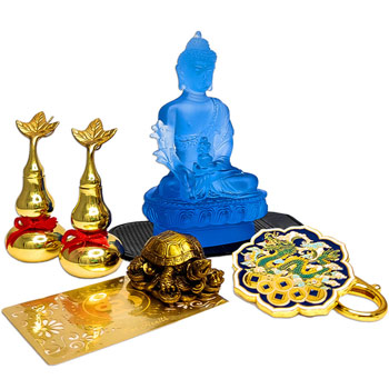 Zodia Sobolan 5 amulete feng shui 2021, statueta Buddha albastru si testoasa dragon, 2 wu lou aurii, brelocuri dragon celest si card sanatate, pentru dragoste, bani, sanatate