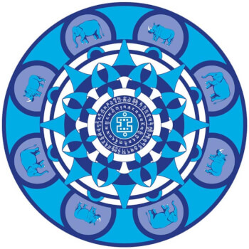 Sticker Elefant cu Rinocer, amuleta de protectie impotriva infractiunilor, albastru 12cm