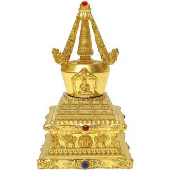 Stupa Feng Shui, amuleta pentru armonie, impotriva violentei si situatiilor de conflict in dragoste, metal, auriu, 80mm