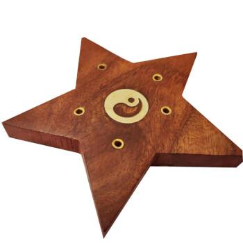 Suport betisoare parfumate, stea Ying Yang, 5 suporturi, lemn, 10 cm