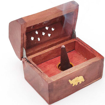 Suport conuri parfumate cufar cu elefant trompa in sus, piesa metalica rotunda pentru ardere con, lemn, 8 cm