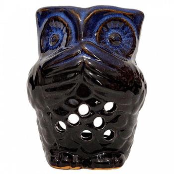 Bufnita suport lumanari si uleiuri esentiale, difuzor aromaterapie din ceramica, HEM, culoare albastru cu negru