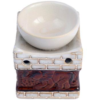 Suport aromaterapie elefant cu trompa sus, difuzor din ceramica pentru lumanari si uleiuri esentiale, HEM, culoare alb maro