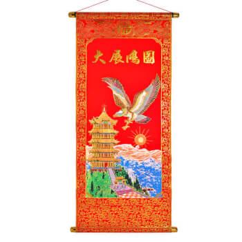 Stampa din catifea rosie cu pagoda si vultur pentru protectia averii si a casei, tip tablouri decorative, 80 cm