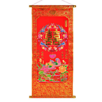 Stampa din catifea rosie cu perechea de rate mandarin si dubla fericire, pentru dragoste si casatorie, tip tablouri decorative, 80 cm