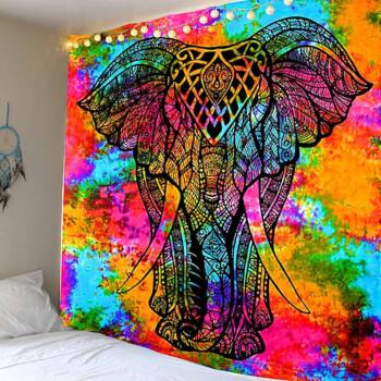 Tapiserie perete mandala elefant, cuvertura artizanala indiana, patura yoga, dimensiuni mari, multicolora