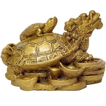 Testoasa dragon cu pui, obiect feng shui pentru fertilitate si bunastarea familiei